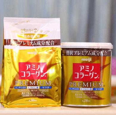 collagen Meiji premium dạng gói và dạng hộp vàng